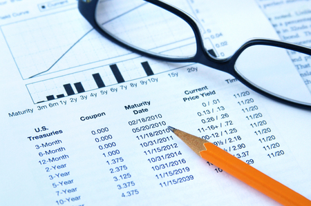 Financial table of united states treasury bonds of varying maturities Stock Photo
