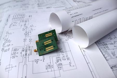 プリント回路基板、回路図、ソフトウェア、技術 写真素材