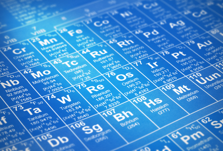 protons: a periodic table of chemical elements with details of atomic numbers, element symbols and element names with creative lighting