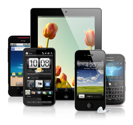 htc: collection of various mobile devices - smartphones and tablet Editorial