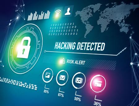 Technologie de sécurité en ligne et concept d'alerte de risque de piratage Banque d'images - 76447656