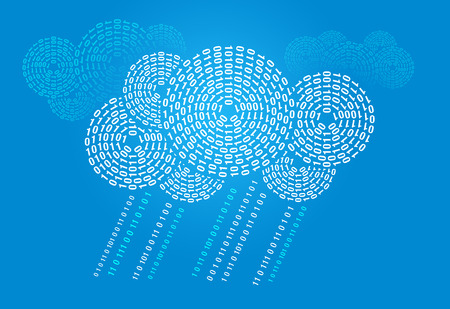 cloud computing concept with digital clouds and rain Stock Photo