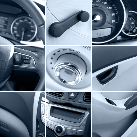 collage of modern car interiors with details tinted Stok Fotoğraf