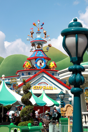 city hall at toontown in disneyland, los angeles, california. The picture was taken on Apr 9, 2011.
