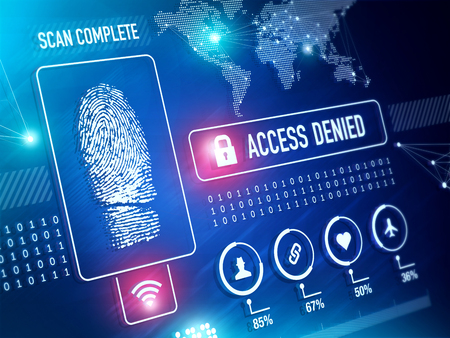 Security Technolgy and ID verification with Fingerprint Scan Concept Stock Photo