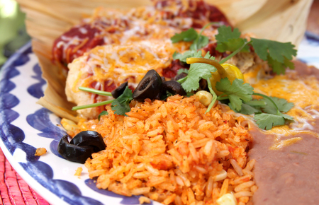 close up of rice and beans on a mexican cuisine platter Stock Photo