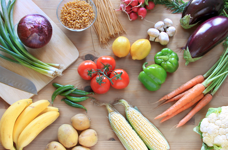 vegetables and fruits on a wooden table top view Stock Photo