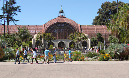 Botanical building at Balboa Park in San Diego California, picture taken on July 5th, 2016. Built for the 1915-16 Exposition, along with the adjacent Lily Pond and Lagoon, the historic building is one of the largest lath structures in the world.  The Bota