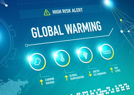 industrialization: Global warming infographic shows key metrics that are effecting global climate change and becoming a high risk alert for the life on the Earth