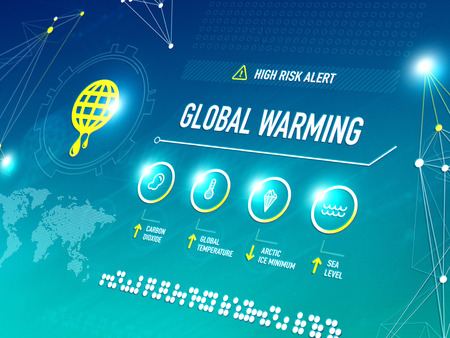 Global warming infographic shows key metrics that are effecting global climate change and becoming a high risk alert for the life on the Earth