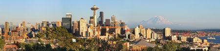 Seattle skyline panorama at sunset as viewed from Kerry Park in Seattle, Washington state