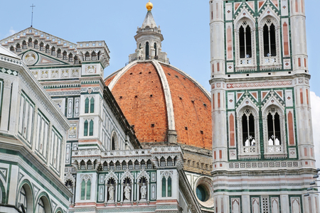 Close up view of Duomo Santa Maria del Fiore in Florence, Tuscany, Italy 免版税图像