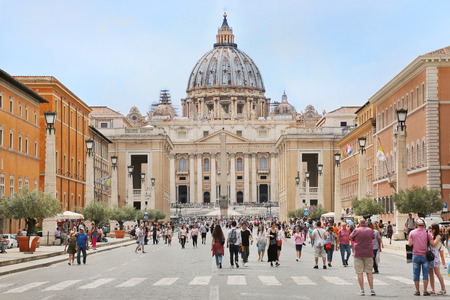 Rome, Italy - June 4, 2018 - View of St. Peters Basilica in Vatican from Via della Conciliazione street in Rome, Italy.St. Peters basilica is famous tourist landmark and is also famous as a place of