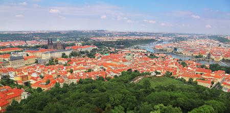 Panoramic aerial view of Prague, Czech Republic with Prague Castle, St. Vitus Catheral and Mala Strana (Lesser Town) in foreground and Charle's bridge, Vltava river and Old town in the background