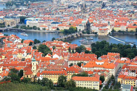 Panoramic aerial view of Prague, Czech Republic with Mala Strana (Lesser Town) in foreground and Charle's bridge, Vltava river and Old town in the background