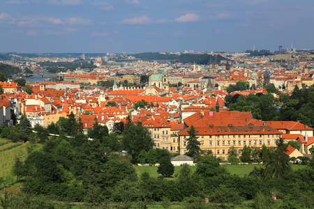 Panoramic aerial view of Prague, Czech Republic with Mala Strana (Lesser Town) in foreground and Old town in the background