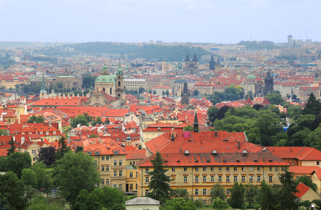 View of Lesser Town (Mala Strana) with red roofs and various church domes in Prague, Czech Republic