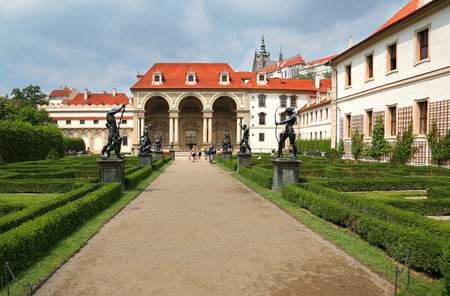 Prague, Jun 11, 2018 - View of the Baroque style Wallenstein Palace in Malá Strana, Prague, currently the home of the Czech Senate and its french garden