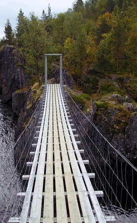 pedestrian bridges: Nedrefosshytta Bridge Stock Photo
