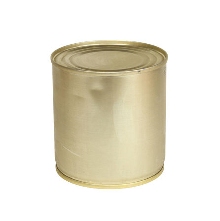hermetic: metal tin of condensed milk on a white background Stock Photo