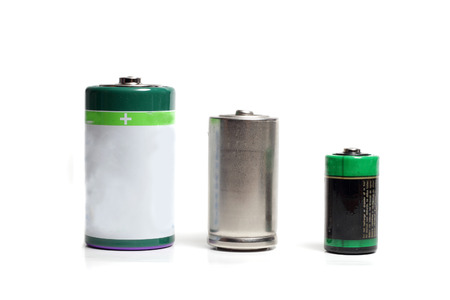 three batteries of different capacities and sizes