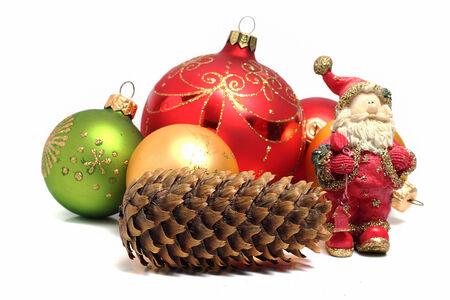 Christmas composition is Santa Claus and Christmas balls photo