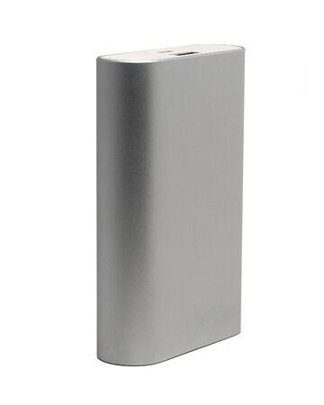 external: powerful external battery in aluminum case Stock Photo