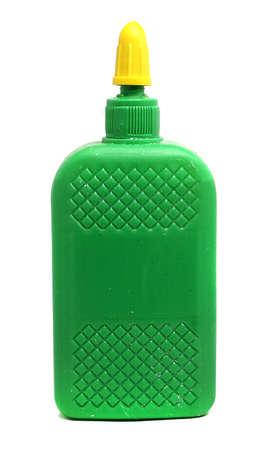 to glue: grandes botellas verdes de papeler�a pegamento