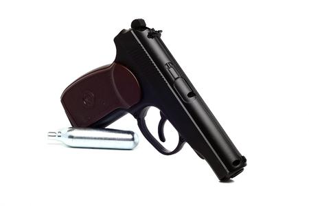 glock: a true copy of dusty air gun on a white background