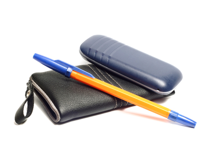conversing: Black leather case for mobile phone and phone