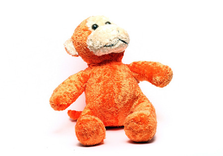 soft toy: soft toy monkey on a white background Stock Photo