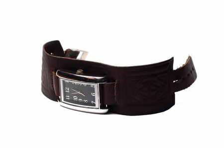 strap on: small wrist watch with leather strap