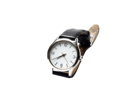 wristwatch: small mechanical wristwatch on a white background