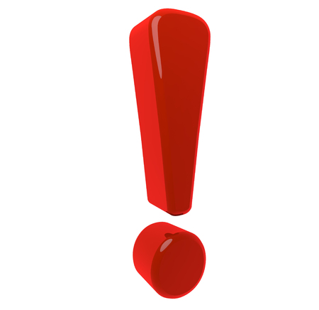 interjection: modeled in 3D exclamation point on a white background