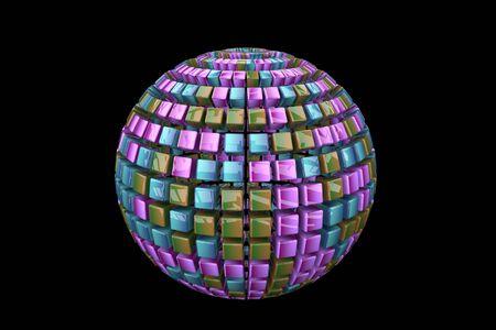 abstrakter Ball auf schwarzem Hintergrund