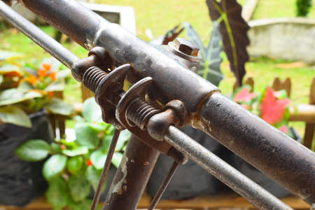 The onthel bicycle handlebar has rusted with age
