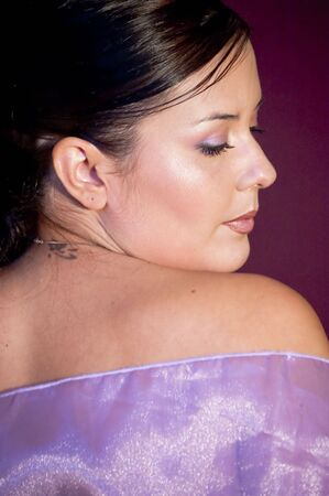 Picture of a model in violet colors. photo