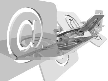 Email symbol´s illustration over white background Stock Photo