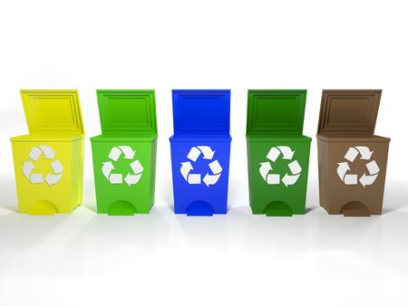 blue bin: recycle bins in yellow,green,blue and brown