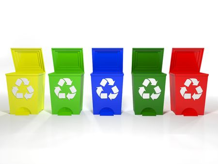 recycle bins in yellow,green,blue and red Stock Photo - 6481791