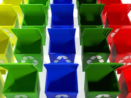 recycle bins in yellow,green,blue and red photo