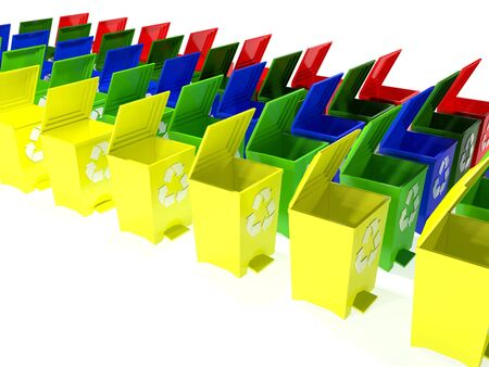 utilize: recycle bins in yellow,green,blue and red Stock Photo