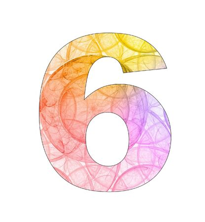 6 number with abstract design photo