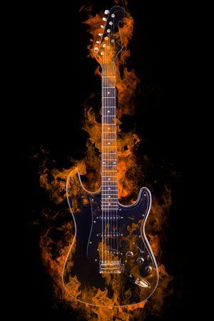 wood burning: Burning Electric Guitar