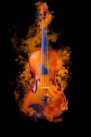 violines: Quema de viol�n Foto de archivo