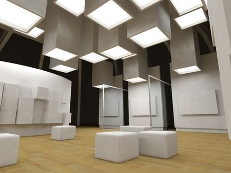 Art gallery with blank frames, modern building, conceptual architecture photo