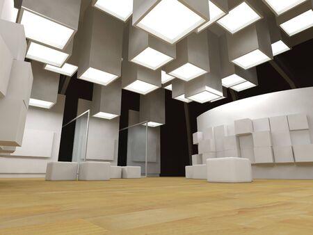 beursvloer: Kunst galerij met lege frames, modern gebouw, conceptuele architectuur  Stockfoto