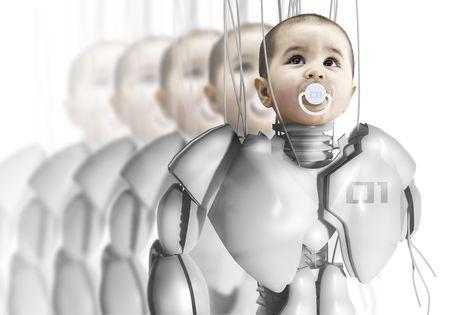 clones: Child robot, creating clones, genetic engineering