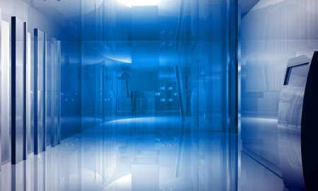 Indoor building. Office space with blue light effects Stock Photo - 6930578