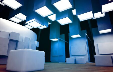 gallerie: Art gallery with blank frames, modern building, conceptual architecture Stock Photo
